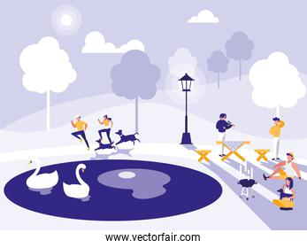 group of people in park isolated icon