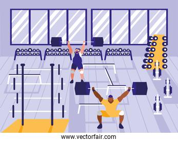 men lifting weights in sport gym
