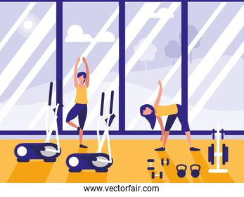 people in sport gym isolated icon