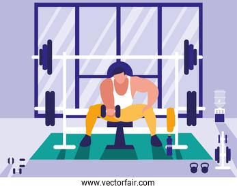 man lifting weights in gym icon