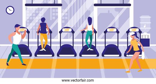 people on treadmill in gym icon