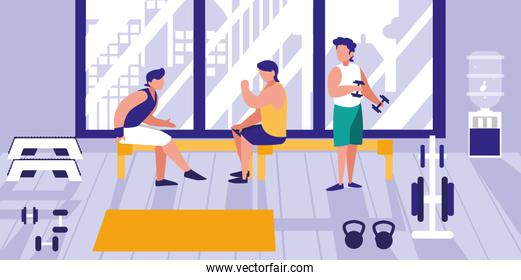 men lifting weights in gym icon