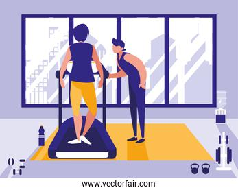 men on treadmill in gym icon