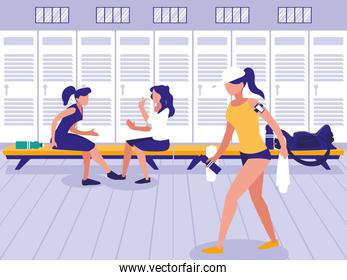 women in place with locker of sport gym