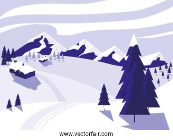 ski camp snowscape scene