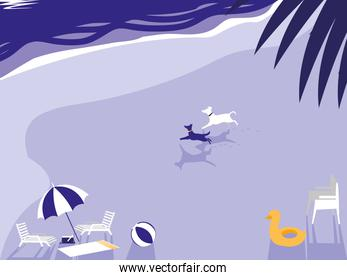 tropical beach with dogs mascot and umbrella
