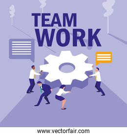 group of business people with gears