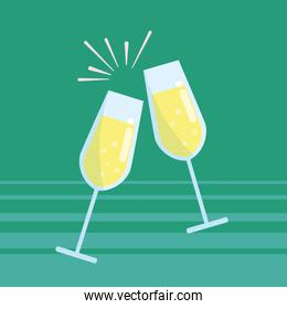 cups of champagne toast isolated icon