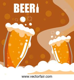 glasses of beers isolated icon