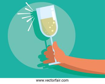 hands with cup of champagne