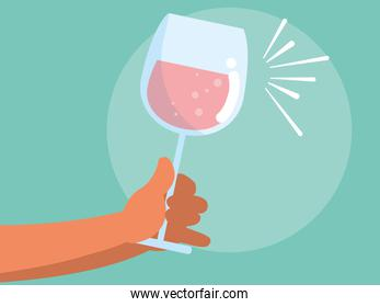 hand with cup of wine isolated icon