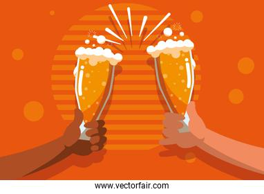 hands toast with glasses of beers
