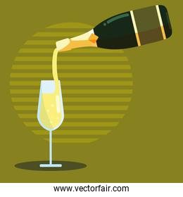 champagne bottle with cup