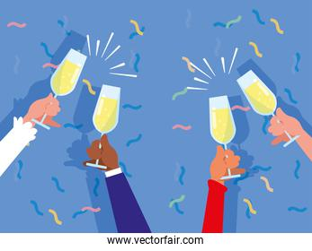 card of hands with cups toasting celebration party