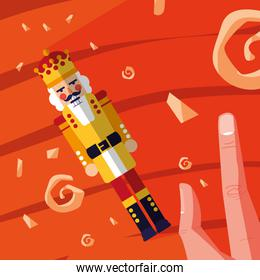 hand with nutcracker king toy icon