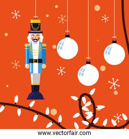 nutcracker general toy with balls of christmas