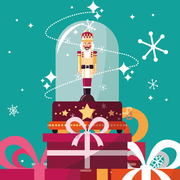 nutcracker king in crystal sphere with gift boxes presents