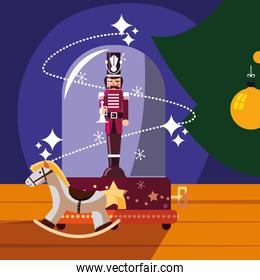nutcracker soldier in crystal sphere with wooden horse