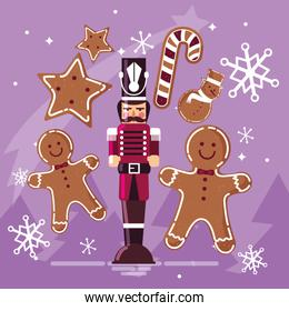 nutcracker soldier with ginger cookie and cane