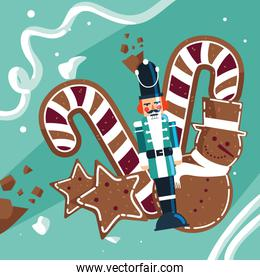 nutcracker soldier with cane and cookies