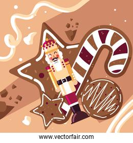 nutcracker king with cane and cookies