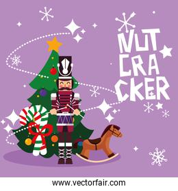 nutcracker soldier with tree christmas and toy