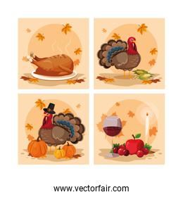 turkeys of thanksgiving day with set icons