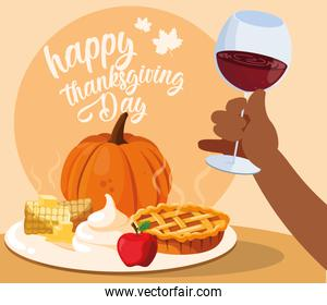 hand with cup wine and food of thanksgiving dinner