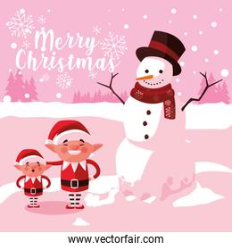 helpers santa claus with snowman