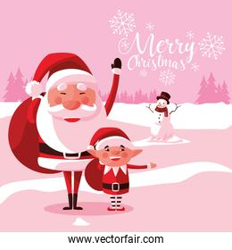 santa claus christmas with helper and snowman