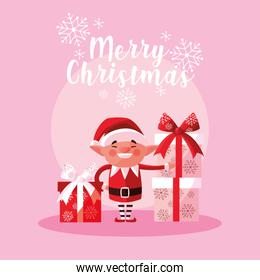 helper santa claus for xmas with gift boxes
