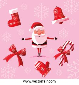 santa claus christmas with set icons