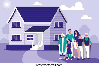 group of family members with house