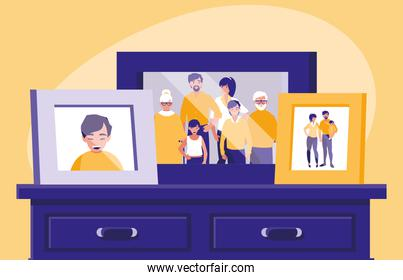 portrait with family members picture in drawer