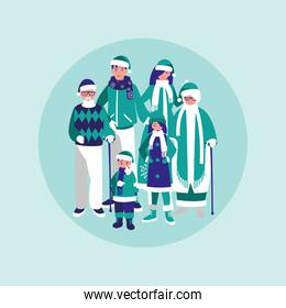 group of family with clothes christmas