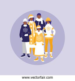 group of family black with clothes christmas