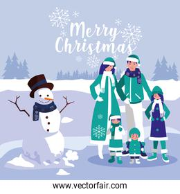 group of family with clothes christmas in winter landscape