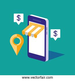 shopping online with smartphone and set icons