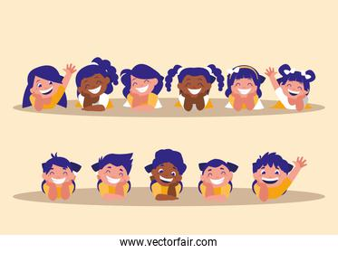 group of cute children avatar character