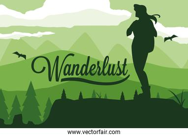 scene landscape forest with traveler wanderlust