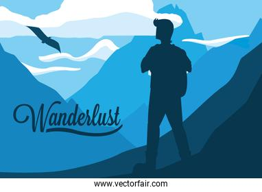 landscape with mountains and traveler wanderlust