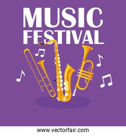 music festival banner with trumpets and saxophone instruments