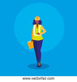 worker woman industrial with folder document
