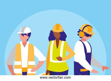 group of workers industrials avatar character