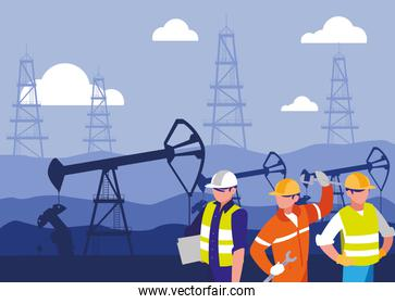 team workers extracting oil