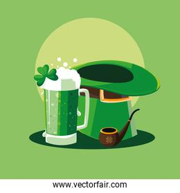 st patrick day with beer and set icons