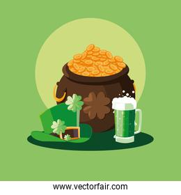 st patrick day with cauldron and items set
