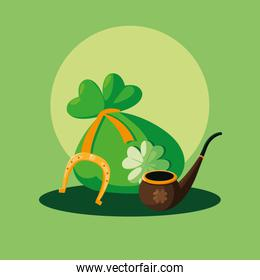 st patrick day with bag money and pipe wooden