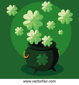 st patrick day with cauldron and clovers