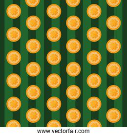 background of st patrick day with coins and clovers
